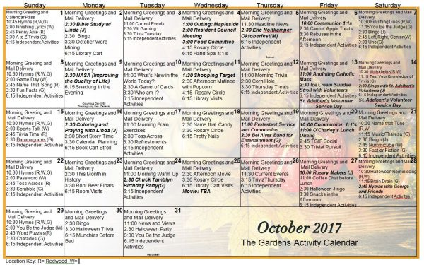 October Calendar 2017 Malayalam